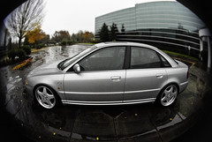 Jacobs Audi A4 (wakeupbaylee) Tags: lensbaby oregon silver mercedes nikon wheels fisheye d200 a4 audi uofo universityoforegon b6 wakeupbaylee baileydennisphotography