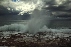 BlowHoles (D. Photos) Tags: sea sky water clouds rocks blowhole slowshutter caribbean caymanisland westindies ominousclouds debbiephotos nd9filter grandcaymanblowholes