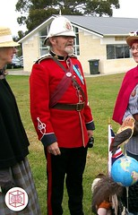 Pith Helmet in Oamaru ,New Zealand (MemoryCube5000) Tags: red man wearing candid military helmet medal southisland kiwi britisharmy pith oamaru redcoat 2010 pithhelmet inuniform candidphotograph