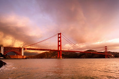 Golden Gate Bridge - The Storm (Act One) (Andrew Louie Photography) Tags: california bridge storm west rain point shower golden bay coast gate san francisco fort sfo anniversary 28mm dramatic area approach 75 drama thunder adversity riskibebe
