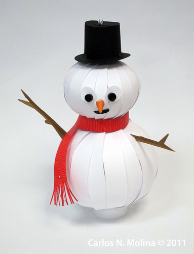Paper Snowman 3d Snowflake Ornament