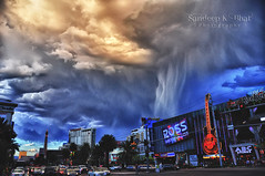 Las Vegas Storm (Sandeep K Bhat) Tags: sky storm rain weather clouds ross nikon gloomy lasvegas nevada lightning thunder hdr hardrockcafe formations d90