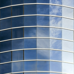 Curved Sky (ecstaticist) Tags: blue reflection building glass architecture richmond aberdeen curve