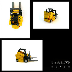 Halo Reach, Forklift. (Lego Junkie.) Tags: blue red lego halo vs reach firefight forklift rvb