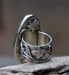 The Healer's Ring (SpiralStone) Tags: metal ivy vine jewelry ring jewellery metalwork sterlingsilver mossagate recycledsilver