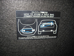 Instructions on a Nissan Z on how to store a golf bag (dharder9475) Tags: chicago unitedstates il diagram instructions 2008 chicagoautoshow storing mccormickplace nissan350z golfbag