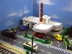 Art deco petrol station (Henrik Hoexbroe) Tags: france train town lego rail diorama tog maqueta