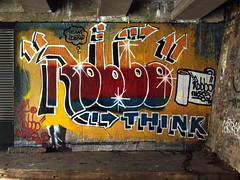 Team Robbo (Alex Ellison) Tags: urban streetart pasteup graffiti camden think banksy regentscanal tribute doze 1985 robbo northlondon pranksy kingrobbo banksyvsrobbo teamrobbo wrh25