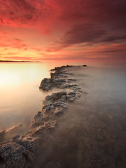 Longhoughton (Alistair Bennett) Tags: sunset seascape coast rocks northumberland sugarsands boulmer longhoughton nd12 canonefs1022 gnd075he gnd045se longhoughtonsteel
