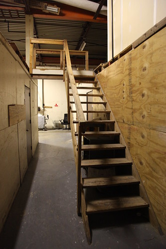 Stairs to the storage loft