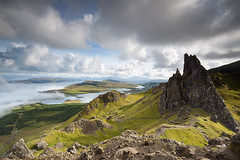 One Summer Day (Chee Seong) Tags: uk blue sky nature fog clouds canon landscape scotland isleofskye hills highland oldmanofstorr canon1740mm 5dm2