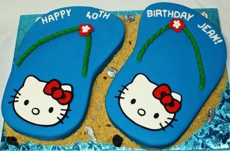 Fantastic Hello Kitty Flip Flops 40Th Birthday Cake A Photo On Flickriver Birthday Cards Printable Inklcafe Filternl