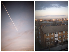 11/366 Morning diptych (Nada*) Tags: city uk morning pink windows light england sky urban cloud house building london window skyline clouds sunrise canon buildings 50mm town am view 14 prison trail bttower fromthewindow goodmorning plain morgen brixton lambeth 820 batterseapowerstation gutenmorgen ráno newparkroad brixtonprison dobréráno
