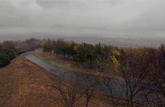 inspiration (davedehetre) Tags: road autumn trees sky cloud mist mountain tower rain fog skyline lawrence view hill wells vista kansas lic overlook
