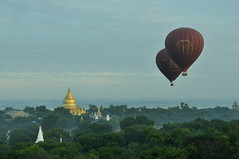 Balloon Tour in Bagan, Myanmar_HXT1393 (ohmytrip) Tags: morning sky tree nature sunrise landscape religious outdoors temple pagoda ancient buddhism adventure monastery hotairballoon myanmar bagan placeofworship highangleview