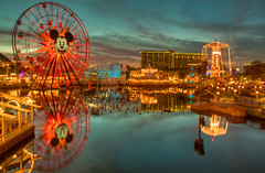 California Adventure (David Morton) Tags: california canon dusk disney mickeymouse dca hdr californiaadventure californiascreamin 2011 photomatix goldenzephyr 450d canon450d funwheel sillysymphonyswings