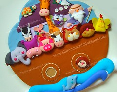 Arca de No da Catarina (Sil Artesanato) Tags: noah cute galinha handmade artesanato craft felt macaco feltro ark coelho leo girafa elefante arca hipopotamo fieltro noowl