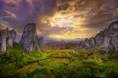 Meteora, Greece (!AllenParseghian) Tags: sunset landscape rocks greece monastery hdr meteora dramaticskies
