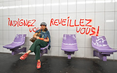 Réveillez-vous. (Valerio Loi) Tags: red people paris glass sign wall train underground tile mom graffiti democracy riot chair purple metro seat protest violet social mum parent revolution change government population society idle vous reveillez