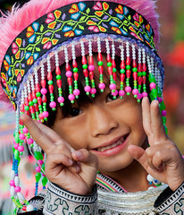 A Girl with Hill Tribe Dress (thai-on) Tags: people mountain girl thailand nikon village chiangmai d3 hilltribe totallythailand