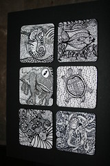 Zentangles (Out On A Whim) Tags: fish art watercolor blackwhite seahorse turtle drawing frog octopus outback gecko doodles coasters doodling penandink zentangle coasterspenink