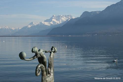 Girl Rides Sea Horse in Lake Geneva