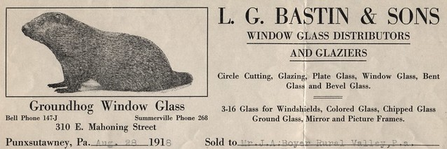 Groundhog Window Glass, Punxsutawney, Pa., 1918