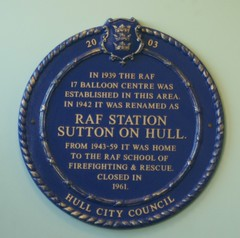 Photo of RAF Station Sutton on Hull blue plaque