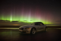 Car Advert Aurora (Reed Ingram Weir) Tags: night northumberland aurora advert bmw z4 northernlights causeway bewick hairdresserscar reedingramweir riwp
