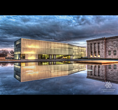 Bloch (Cassaw [Creative]) Tags: reflection water museum kansascity bluehour hdr nelsonatkinsmuseum bloch