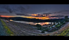fault line 2.0 | hdr panorama [explore] (elmofoto) Tags: sf california blue sunset panorama orange lake mountains reflection water northerncalifornia landscape san fav50 andreas fav20 explore norcal fav30 hdr highdynamicrange gettyimages 1000v fav10 photomatix tonemapping explored fav40 hdrpanorama borderfx elmofoto lorenzomontezemolo
