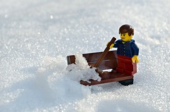 Lego Bench Monday 6 - 6th Feb (flailing DORIS aka Fur Will Fly) Tags: snow man bench toy lego angry monday broom sweeping minifigure