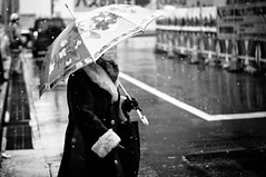 lady in snow (Takeshi GS) Tags: street people bw white snow black japan lady umbrella photography 50mm tokyo smc kx pentaxm thedefiningtouch deftouch 東京 中野 pentax