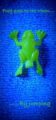 Frog and the Moon... (Sole & Luna) Tags: blue blu frog rana greetingcard biglietto