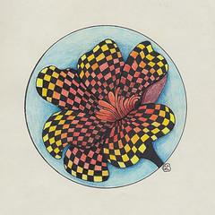 Tangle Journal 2012 week of Jan. 2 (Amaryllis Creations) Tags: flower coloredpencil artjournal penink zentangle