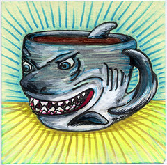 I drew you a great white shark mug of coffee (bortwein75) Tags: food fish color colour art coffee illustration pen ink fun shark boat flickr drink drawing internet humor beverage mug series highlighters whiteout markers postitnote bortwein
