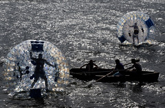Aqua Zorbing on Derwentwater Lake District (posimage) Tags: water sport boat action lakes lakedistrict keswick rowingboat sphereing orbing aquazorbing