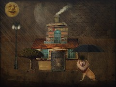 Mr Pitts - On Duty (jimlaskowicz) Tags: moon art collage umbrella artistic surreal pit bull textures fantasy layers bowler derby whimsical explored netartii