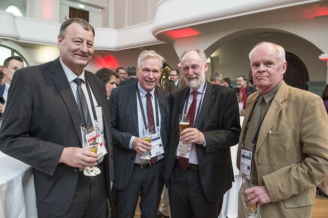 Sigurbergur Björnsson, Hreinn Haraldsson, Jack Short and Johannes Tomasson gather at reception
