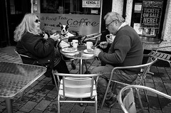 Full English (nigelhunter) Tags: street urban woman dog lake man english sunglasses breakfast table jack lunch cafe chair russell stroller district candid fat full cumbria obese pram kendal