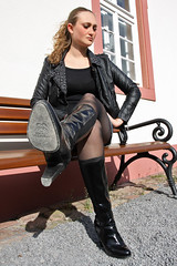 Selina 32 (The Booted Cat) Tags: woman sexy girl leather high model highheels legs boots tights jeans jacket heels miniskirt nylon demin