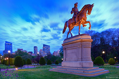 George Washington Statue (A. Shamandour) Tags: new city sunset england storm motion color building water statue boston night clouds speed sunrise garden boats lights george washington long exposure cityscape slow massachusetts scape towards shutterspeed waterscape