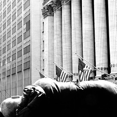 Not his Wall Street (hawkeye6363) Tags: nyc blackandwhite square photography candid squareformat wallstreet nyse newyorkstockexchange uploaded:by=instagram