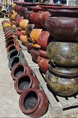 Mexican pottery.  CaminoReal Imports and Gift Shop, Taos, New Mexico. (cbrozek21) Tags: newmexico folkart pots pottery taos maxico mexicanpottery