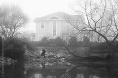 Dream World (FarCorner) Tags: old morning white lake man black monochrome fog standing vintage nc day village time hill dream foggy northcarolina chapel grainy governors