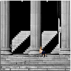 Time Out (Nespyxel) Tags: light woman lines oslo vertical horizontal relax norge donna alone shadows columns steps ombre diagonal solo pause timeout luce norvegia colonne diagonale pausa linee scalini geometries nespyxel stefanoscarselli