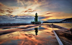 Lanterna (Damir B. mostly off) Tags: sunset sea sky lighthouse reflection clouds port croatia