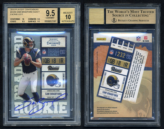 2010 Playoff Contenders Facing Left AU SAM BRADFORD #232B BGS 9.5