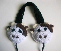 Mooey the cow earmuffs (Mooy) Tags: cute animal shop fun cow handmade crochet moo kawaii etsy mooey mooeyandfriends