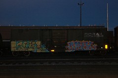 Bcol Flat in the night. (A & P Bench) Tags: train bench graffiti canadian graff railfan freight rollingstock fr8 benching